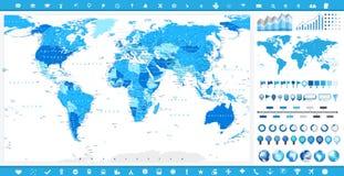Stor världskarta och infographic beståndsdelar Arkivfoto