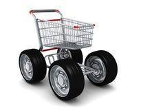 stor vagn isolerade shoppa hjul Royaltyfri Foto