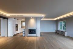 Stor vardagsrum i modern lägenhet royaltyfria foton