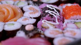 Stor variation av sushi på en platta lager videofilmer