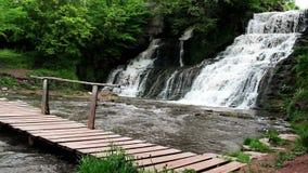Stor vattenfall i skog stock video