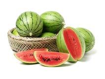 Stor vattenmelon och skiva royaltyfria foton