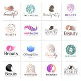 Stor vektorlogouppsättning för skönhetsalongen, hårsalong, skönhetsmedel royaltyfri illustrationer