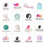 Stor vektorlogouppsättning för skönhetsalongen, hårsalong, skönhetsmedel vektor illustrationer