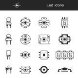 Stor vektoruppsättning av densändande ut dioden för ekonomiska LEDDE lampor Illustrationhalvledareapparater royaltyfri illustrationer