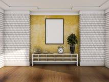 Stor vertikal affisch på betongväggen 3d Royaltyfria Bilder