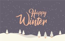 Stor vinteraffisch kortjul som greeting lycklig vinter Royaltyfri Fotografi