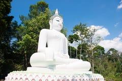 Stor vit buddha staty på kullen Fotografering för Bildbyråer