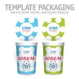 Stor vit bunke med locket för yoghurt, glass, ögonblickliga nudlar eller soppa Royaltyfria Bilder
