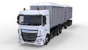 Stor vit lastbil med den separata släpet, för trans. av jordbruks- och byggande material i stora partier och produkter 3d Royaltyfri Fotografi