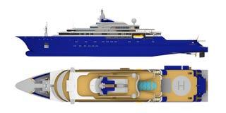 Stor yacht som isoleras på den vita överkant- och sidosikten vektor illustrationer