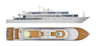 Stor yacht som isoleras p? den vita ?verkant- och sidosikten royaltyfri illustrationer
