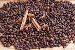 Stora aromatiska kaffebönor, aniskrydda för sötsaker, kakor, kanelbruna pinnar och kryddnejlikor Olika sorter av kryddor arkivfoto
