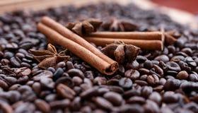 Stora aromatiska kaffebönor, aniskrydda för sötsaker, kakor, kanelbruna pinnar och kryddnejlikor Olika sorter av kryddor arkivfoton
