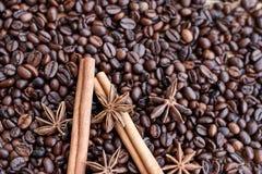 Stora aromatiska kaffebönor, aniskrydda för sötsaker, kakor, kanelbruna pinnar och kryddnejlikor Olika sorter av kryddor arkivbilder