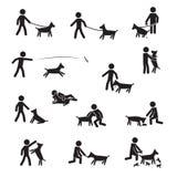 Stora avel för hund med mansymbolsuppsättningen Vecor vektor illustrationer
