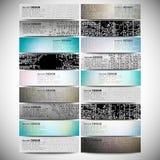 Stora baner ställde in, vetenskapsbakgrunder, mikrochips Royaltyfri Fotografi