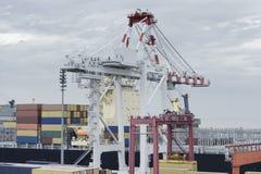 Stora behållare för hamnkranpäfyllning på en lastskyttel Arkivbilder