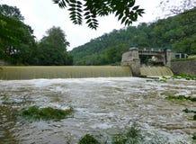 Stora belopp av lerigt vatten som fowing över dammbyggnaden Royaltyfri Foto