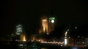 Stora Ben Clock Tower på natten (London, England) lager videofilmer