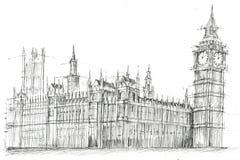 Stora Ben London Pencil Drawing Royaltyfria Bilder