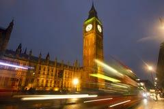 Stora Ben på natten i London Arkivfoto