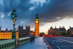 Stora Ben på natten, London Royaltyfri Bild