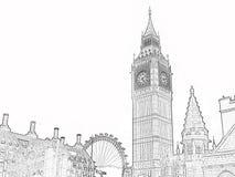 Stora Ben Sketch i svartvitt Arkivbild
