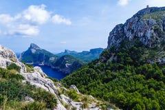 Stora berg som upprätt bildar, mycket höga kuster royaltyfri bild