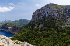 Stora berg som upprätt bildar, mycket höga kuster royaltyfri foto