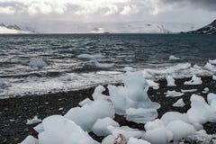 Stora bitar av is i Antarktis Arkivbilder