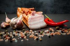 Stora biten av rimmat kött späcker med kryddor, vitlök och chilipeppar royaltyfria bilder