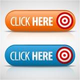 stora blåa knappar klickar här orangen Royaltyfri Bild