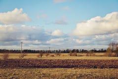 8 stora blåa oklarheter avlägsen lätt eps för tillägg fields byn för fem för förgrundsformatgreen för liggande för ängar för plan Royaltyfria Foton