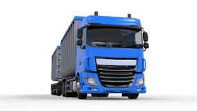 Stora blått åker lastbil med den separata släpet, för trans. av jordbruks- och byggande material i stora partier och produkter fr Arkivbild