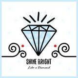 Stora blått skiner ljust som en skinande crystal ädelstensten för diamant Arkivbilder