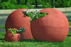 Stora blommakrukar Arkivfoton