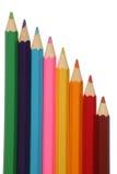 stora blyertspennor för färg Arkivfoto