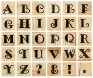 Stora bokstav för engelskt alfabet, collage av isolerad wood boktryck Royaltyfri Fotografi