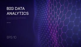 Stora data Bakgrund för teknologi för affärsintelligens Analys för virtuell verklighet för algoritmer för binär kod djup lärande vektor illustrationer