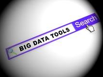 Stora data bearbetar den 2d illustrationen för den Digital toolboxen stock illustrationer