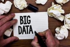 Stora data för ordhandstiltext Affärsidé för så komplexa uppsättningar som att traditionell programvara välter avtal med dem håll arkivbild