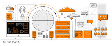 Stora data Infographic vektor illustrationer