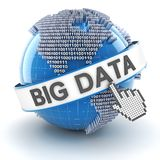Stora data med det digitala jordklotet, 3d framför Arkivfoton