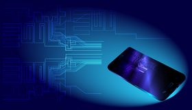Stora data och smartphone på blå bakgrund vektor illustrationer