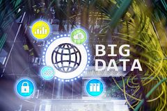 Stora data som analyserar serveren Internet och teknologi royaltyfri illustrationer