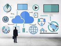Stora data som delar online-molnbegrepp för global kommunikation Royaltyfri Bild