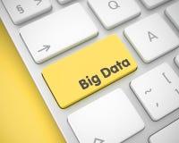 Stora data - text på gul tangentbordtangent 3d Fotografering för Bildbyråer