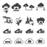 Stora datasymboler uppsättning, molnberäkning Royaltyfri Fotografi