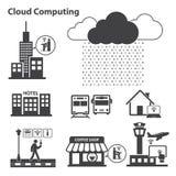 Stora datasymboler uppsättning, molnberäkning Royaltyfri Bild